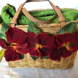 VINTAGE Kate Spade Poppy Wicker Basket Bag